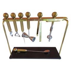 Handsome Set Brass Bar Ware Bar Tools Maxwell Phillips Mid-Century Modern