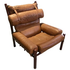 Arne Norell Brown Leather and Stained Hardwood Easy Chair, Model Inca