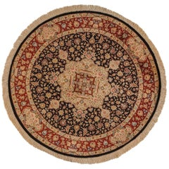 20th Century, Black Rounded Qom Rug