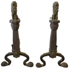 Brass Lion and Iron Andirons circa 19th Century