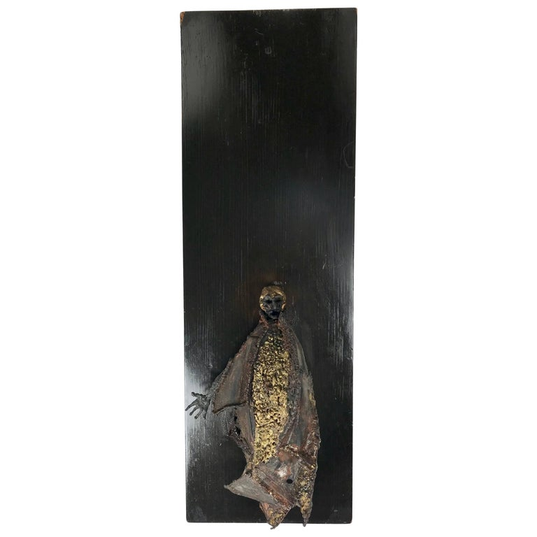 Unusual Brutalist Bronze Figure Mounted Sculpture