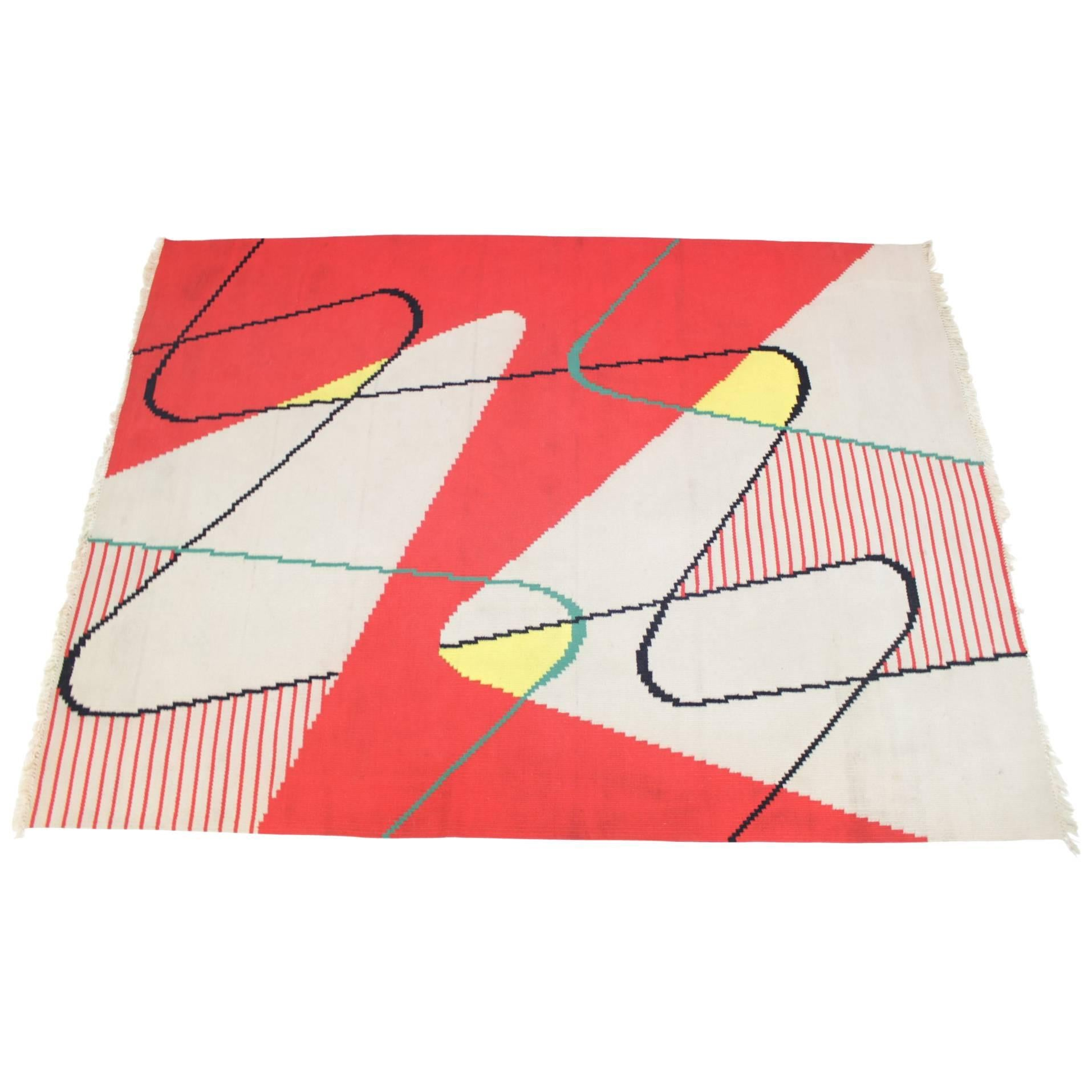 Extraordinary Big Geometric Modernist Kilim Carpet, A. Kybal