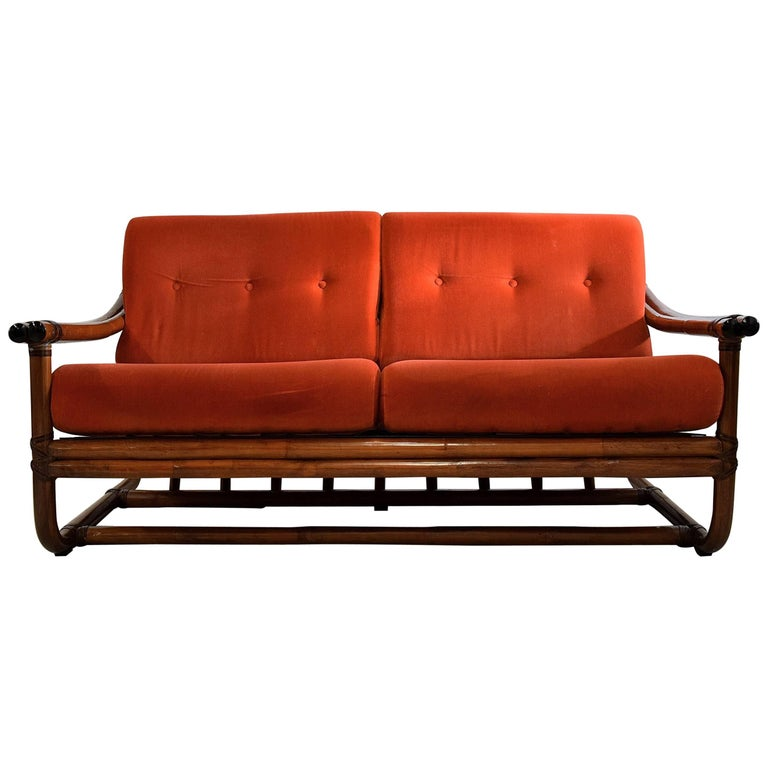 Italian Two-Seat Mid Century Modern Bamboo Lounge Sofa For Sale at ...