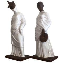 Pair of Italian Glazed Terracotta Tanagra Style Female Figurines