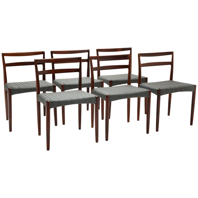 Set of Six Danish Rosewood Dining Chairs by Harry Ostergaard