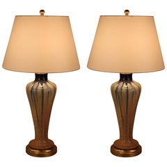Pair of 1930s Belgium Pottery Table Lamps