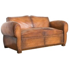 French Cognac Leather Moustache Club Loveseat Sofa, circa 1930-1940