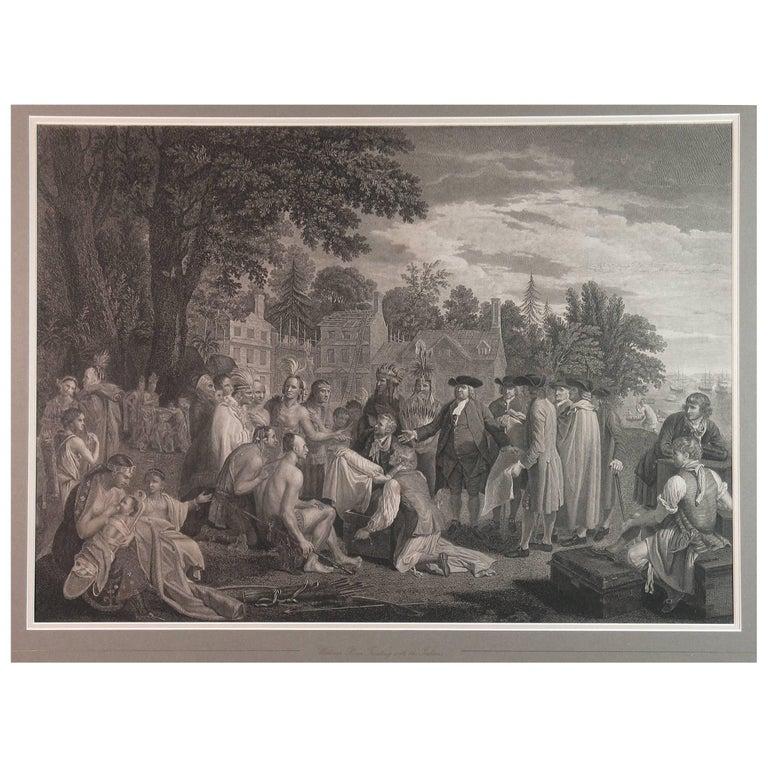William Penn's Treaty, Pennsylvania, Engraving, London, 1775 For Sale