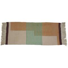 Midcentury Smaller Geometric Kilim Carpet