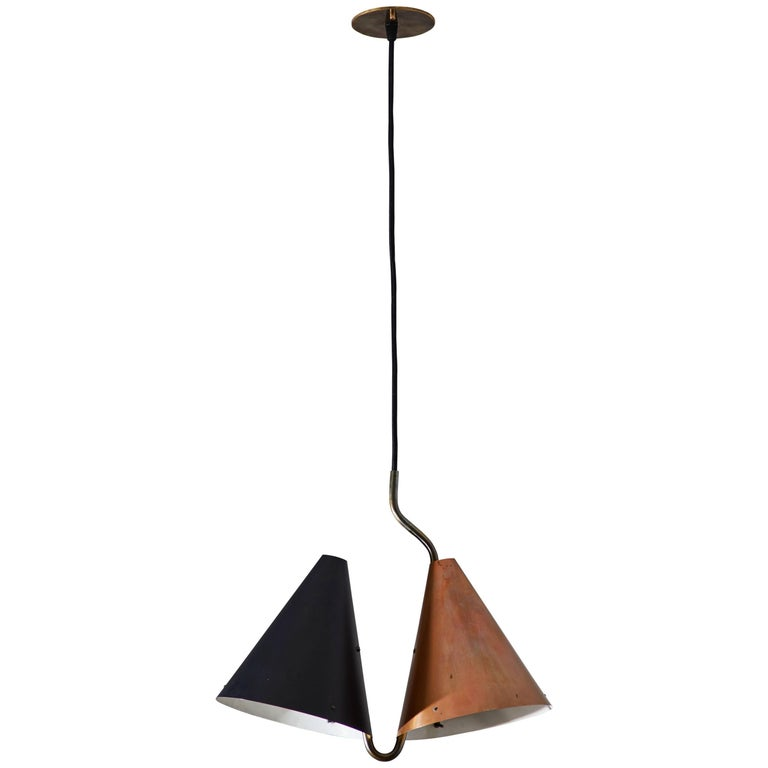 Rare Double Pendant Lamp by Svend Aage Holm Sørensen for Lyfa For Sale