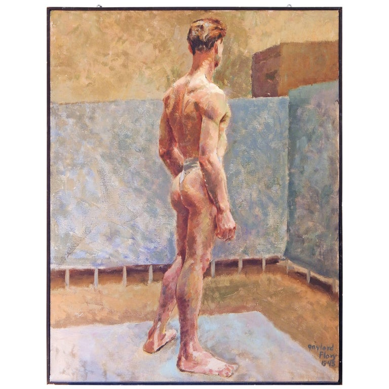 """Male Nude with Slate and Sand,"" Early Painting by Gaylord Flory, 1945 For Sale"