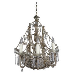 French Crystal Beaded Ship Chandelier C. 1930's