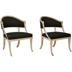 Pair of Swedish Gustavian Tub Armchairs by Ephraim Stahl, Signed