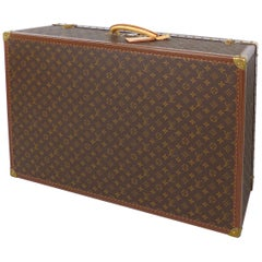 Louis Vuitton Alzer 80 Leather and Brass Suitcase with Original Protective Cover