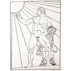"""Nude Roman Soldier,"" Art Deco Drawing with Nude Male and Radiating Sun"