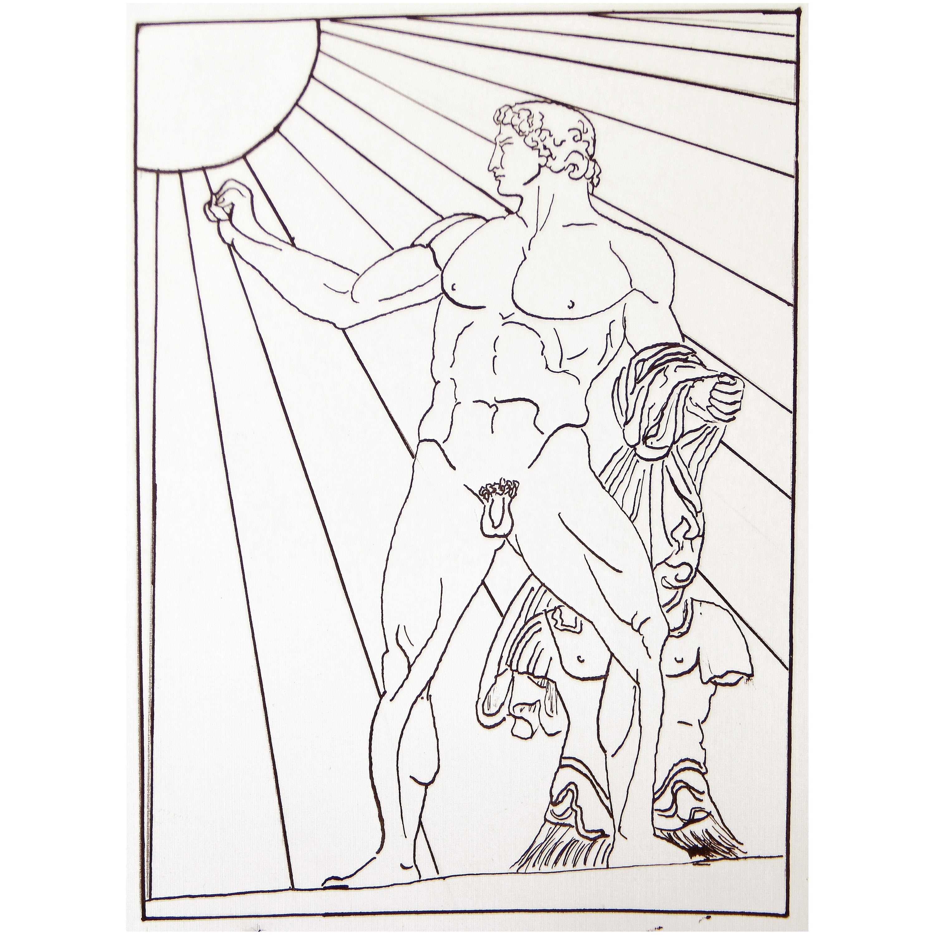 """""""Nude Roman Soldier,"""" Art Deco Drawing with Nude Male and Radiating Sun"""
