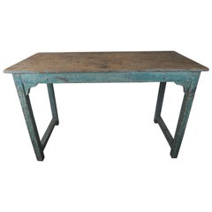 Swedish Blue Painted & Natural Wood Table