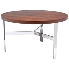 Vintage Modern Rosewood and Chrome Coffee or Side Table