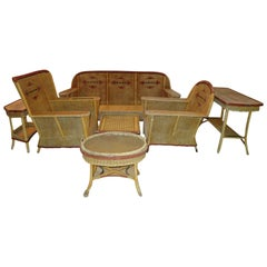 Fabulous Art Deco Style Seven-Piece Wicker Patio Set Mid-Century Modern