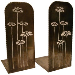 Pair of Newcomb College Pierced Brass Bookends