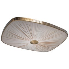 Brass and Fabric Flush Mount, Sweden, 1940s