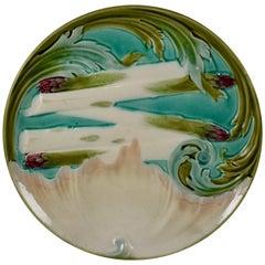 Luneville French Faïence Majolica Art Nouveau Asparagus & Artichoke Plate
