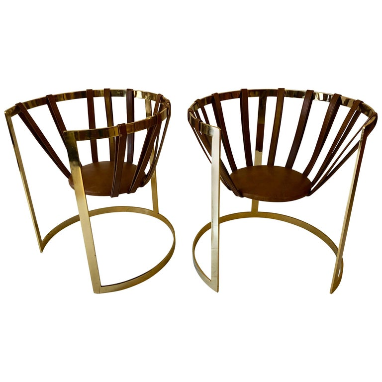 Pair of Brass and Leather Sling Chairs For Sale