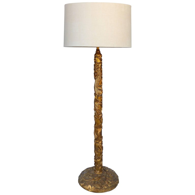 Gilt mandarin floor lamp with linen drum shade in the manner of gilt mandarin floor lamp with linen drum shade in the manner of james mont for sale aloadofball Image collections
