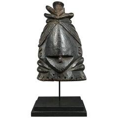 Tribal African Mende Bundu Helmet Janus 'Two Face' Wood Mask, Early 20th Century