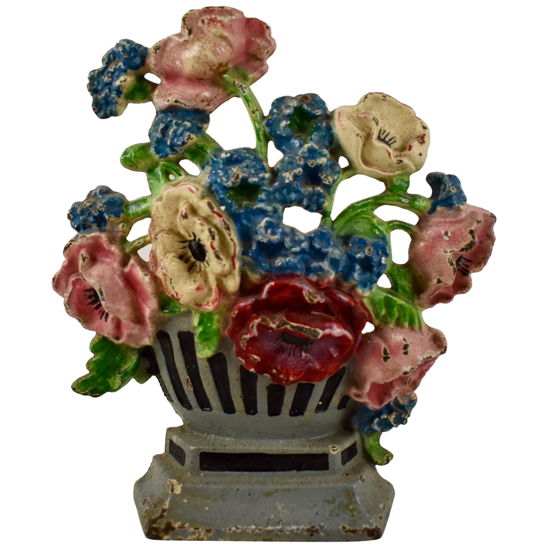 1930s Hubley Cast Iron Gray Urn of Cornflowers & Poppies Floral Bouquet Doorstop