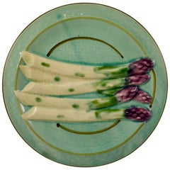 French Faïence Sarreguemines Turquoise Hand-Painted Asparagus Plate
