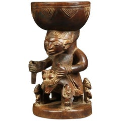 African Tribal Yoruba, Nigeria Rider Figure Offering Bowl, Early 20th Century