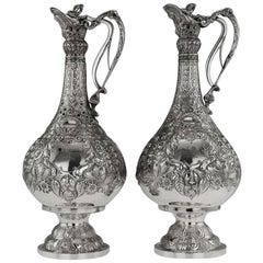 Antique Victorian Solid Silver Pair of Magnificent Armada Jugs, circa 1898