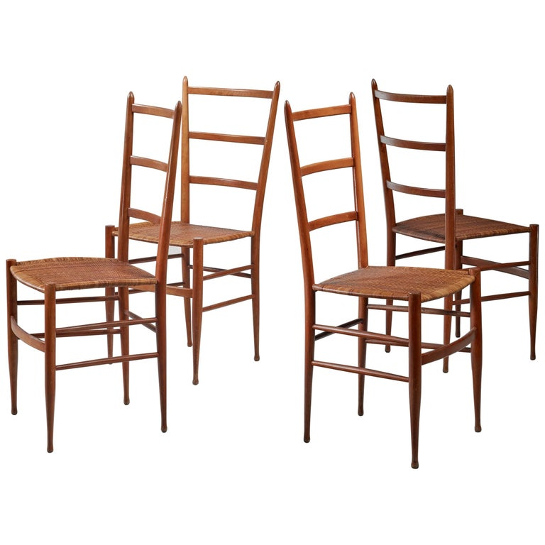 Set of Four Chiavari Chairs, Italy, 1950s For Sale