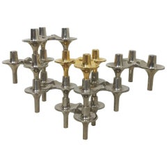 """1970s BMF Nagel """"Orion"""" Candleholder Set of seven Designed, Caesar Stoffi, 1970s"""