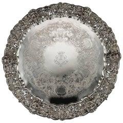 Antique Victorian Exceptional Solid Silver Salver Tray, J E Terrey, circa 1847