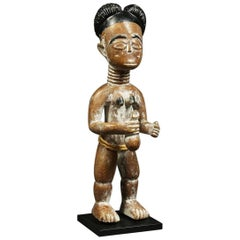 Standing Akan Ghana Tribal Female Figure, Early 20th Century Africa, Black Hair