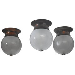 Set of Three Italian Ceiling Lamps, Italy, 1950s