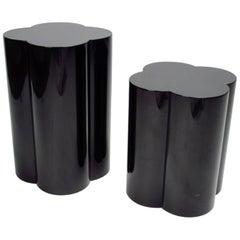 Italian Black Lacquered Cloverleaf Occasional Side Tables, 1980s