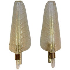 Glamorous Pair of XL Murano Gold Flaked Glass Leaf Sconces by Barovier & Toso