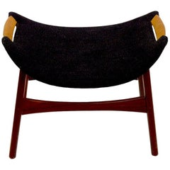Danish Modern Footrest Ottoman Stool Attributed to P.I. Langlos Fabrikker