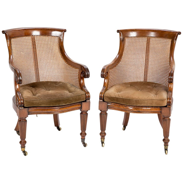 Pair of Late Regency Mahogany and Caned Bergere Chairs For Sale