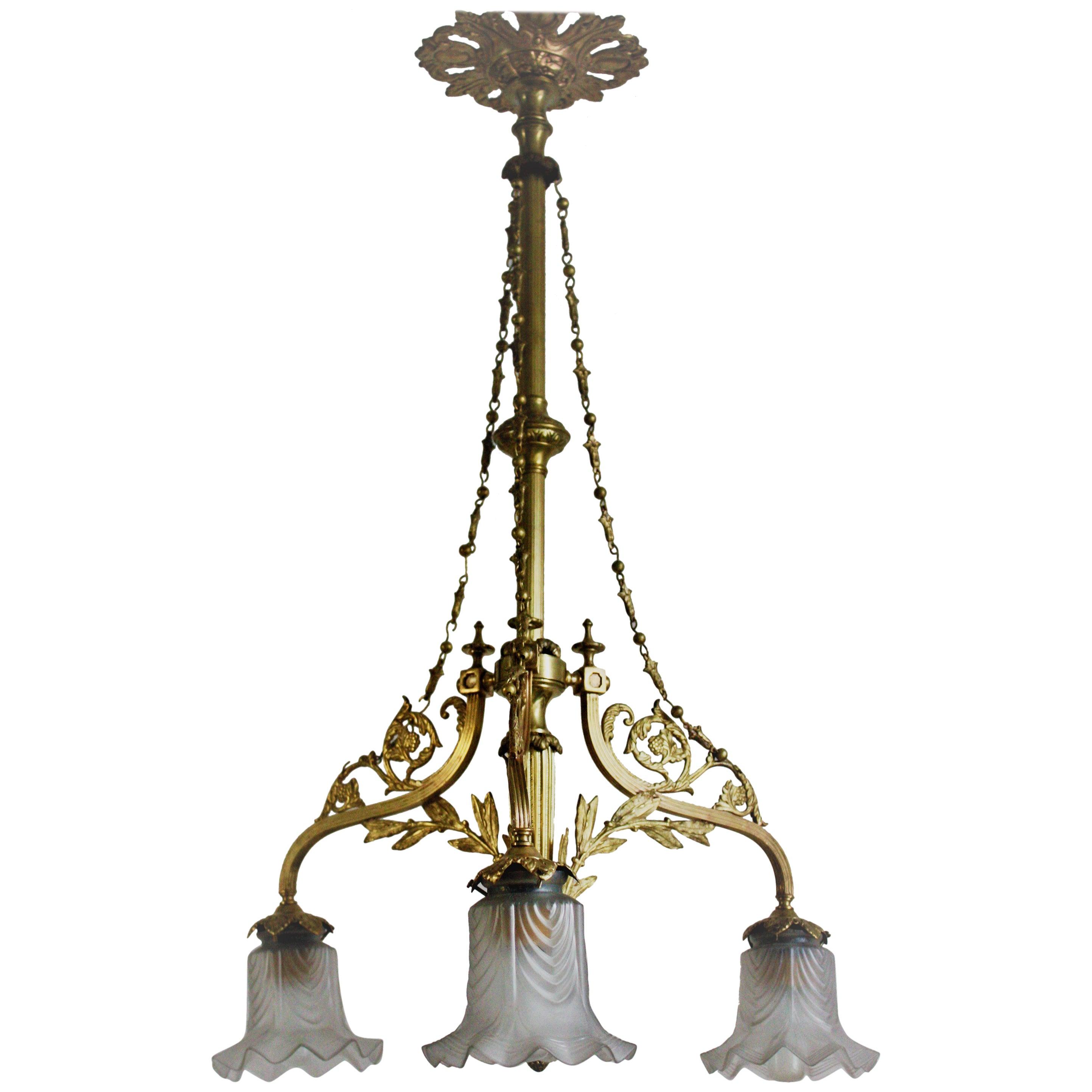 Beautiful Art Nouveau Brass and Glass Chandelier, circa 1900s
