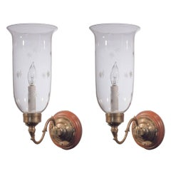 Pair of 19th Century English Hurricane Shade Sconces with Etched Stars