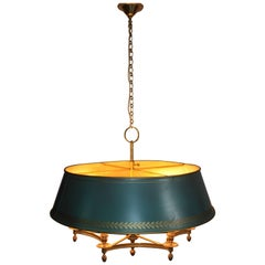 """Extra Large """"Bouillotte"""" Brass Pendant, Empire Style Chandelier, France"""