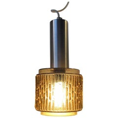 Danish Midcentury Textured Olive Green Glass Pendant Lamp from Vitrika, 1960s