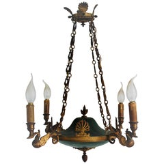 19th Century Empire Style Four-Light Chandelier, France, circa 1870s