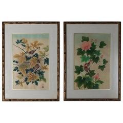 Pair of Ashikaga Shizuo Japanese Floral Wood Block Prints, Signed, circa 1950