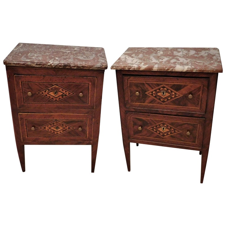 Assembled Pair of Italian Neoclassical Marble-Top Small Commodes, circa 1810 For Sale