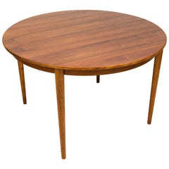 Danish Walnut Round Dining Table, Two Leaves, Moreddi